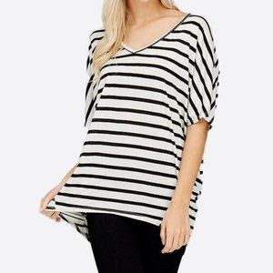 Short Sleeve Striped Dolman T-Shirt Top V-Neck